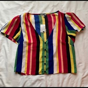 Charlotte Russe Striped Crop Top Size Small